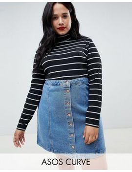 Asos Design Curve Stripe High Neck Top With Long Sleeve by Asos Design