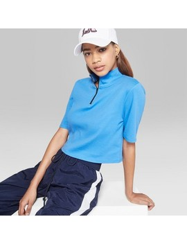 Women's Short Sleeve Quarter Zip Boxy T Shirt   Wild Fable™ Blue by Wild Fable™