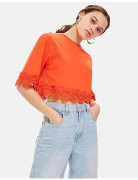 Square Sleeve Trim T Shirt by Topshop