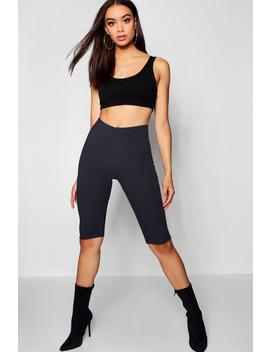 Rib Knit Longline Cycling Short by Boohoo