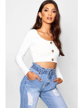 Rib Knit Long Sleeve Button Front Crop by Boohoo