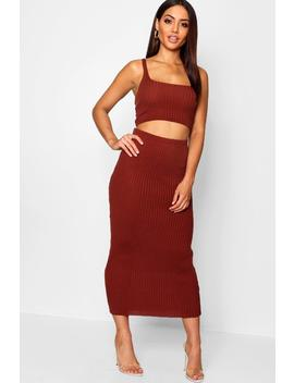 Square Neck Wide Strap Rib Knit Co Ord by Boohoo