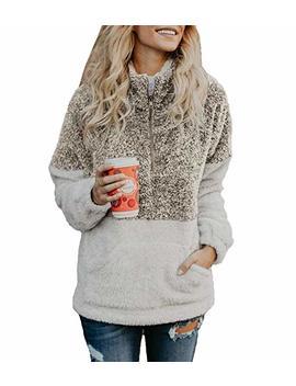 Btfbm Women Long Sleeve Zipper Sherpa Sweatshirt Soft Fleece Pullover Outwear Coat by Btfbm