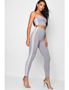 Side Stripe Square Neck Knitted Set by Boohoo