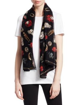 Skull Jewelled Trinkets Silk Scarf by Alexander Mc Queen