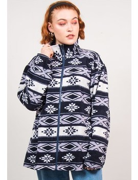 Vintage 90's Blue Abstract Fleece Jacket by The Vintage Scene