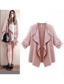 Dzt1968 Women Autumn Spring Solid Long Sleeve Loose Plus Coat Cardigan by Dzt1968