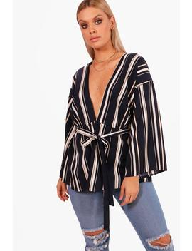 Plus Woven Stripe Belted Top by Boohoo