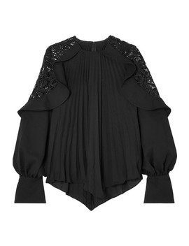 Pleated Crepe De Chine And Lace Blouse by Self Portrait