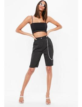 Black Pinstripe Chain Detail Board Shorts by Missguided