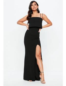 Black Square Neck Overlay Maxi Dress by Missguided