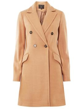 Camel Double Breasted Pea Coat by Dorothy Perkins