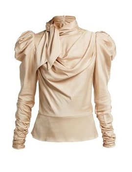Fleeting Tie Neck Silk Blend Blouse by Zimmermann