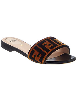 Fendi Ff Leather & Velvet Slide Sandal by Fendi