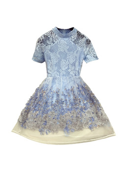 2018 New Oganza Fairy Vintage Lace Dress Women Turtleneck Perspective Three Dimensional Flower Mini Dress Students Blue Vestidos by Nancylim