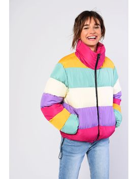 ** Rainbow Puffer Jacket By Glamorous by Topshop