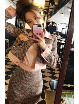 2018 New Autumn Winter Tweed Long Sleeve Vintage Mini Skirt Suits Women Runway Denim Patchwork Loose Jacket Coat Two Piece Set by Senior&Goblin