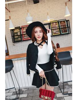 Black Tweed Jacket Coat + Shorts / Skirt Suits Hand Woven Custom Autumn / Winter Women's New Woolen Suit Ladies 2 Piece Suit by Zawfl