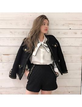 Zawfl Black/White Tweed Jacket+Skirt Suit Heavy Beaded 2018 Autumn/Winter Women's Woolen Jacket Ladies Tweed Skirts Suit S Xxl by Zawfl