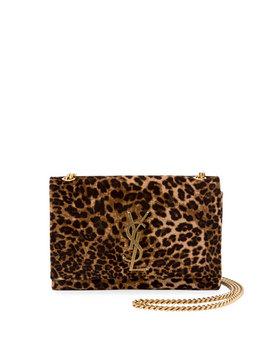 Kate Monogram Small Leopard Print Velvet Crossbody Bag by Saint Laurent