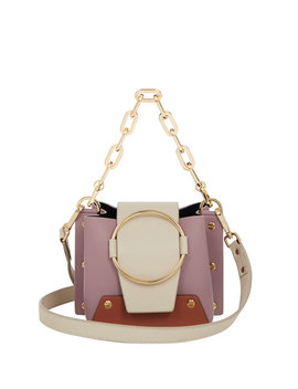 Delila Mini Colorblock Leather Bucket Bag by Yuzefi Limited