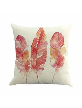 Snowfoller Feather Painting Cotton Linen Pillowcase   Super Soft Square Cushion Cover Throw Pillow Case Car Sofa Home Decoration 18 X 18 (A) by Snowfoller