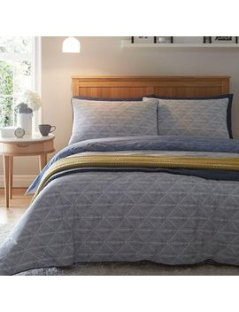 Home Collection   Blue 'stamp' Bedding Set by Home Collection