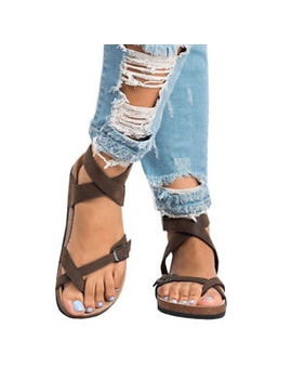 Usa Women's Gladiator Sandals Flip Flop Straps T Strap Thong Slippers Flat Shoes by Unbranded