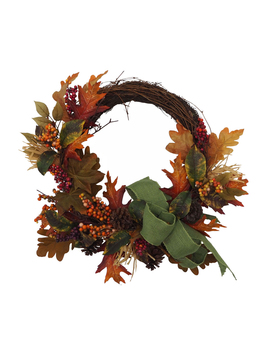 Blooming Autumn Maple Leaves, Berries & Pinecone Wreath                      Blooming Autumn Maple Leaves, Berries & Pinecone Wreath by Blooming Autumn