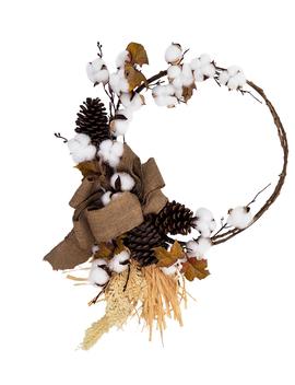 Blooming Autumn Cotton, Pinecones & Raffia Wreath Cream                      Blooming Autumn Cotton, Pinecones & Raffia Wreath Cream by Blooming Autumn