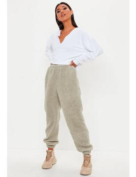 Stone Grey Borg Joggers by Missguided