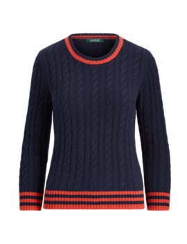 Stripe Trim Cable Knit Sweater by Ralph Lauren