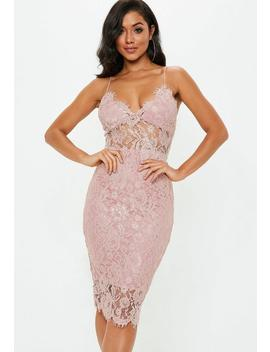 Blush Pink Strappy Lace Midi Dress by Missguided