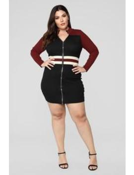 Race To The Finish Sweater Dress   Black/Red by Fashion Nova