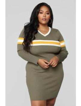 Varsity Rules Sweater Dress   Olive/Combo by Fashion Nova