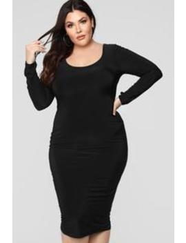 All These Simple Things Midi Dress   Black by Fashion Nova