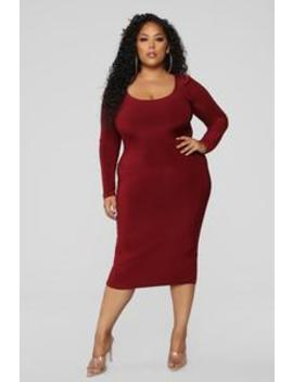All These Simple Things Midi Dress   Burgundy by Fashion Nova