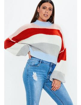 Plus Size Striped Balloon Sleeve Jumper by Missguided