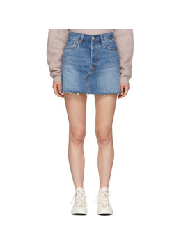 Blue Deconstructed Miniskirt by Levi's