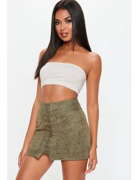 Khaki Lace Up Suedette Skirt by Missguided