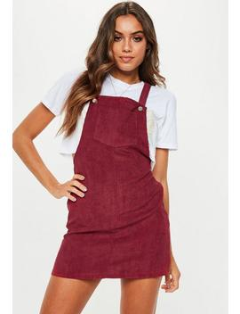 Burgundy Corduroy Pinafore Dress by Missguided