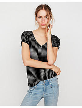 Express One Eleven Striped V Neck Slim Tee by Express