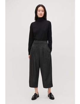Crop Pleated Wool Trousers by Cos