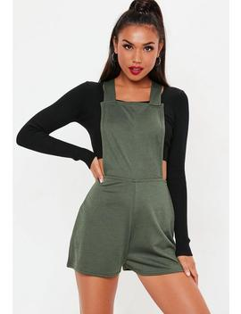 Khaki Dungaree Cross Back Playsuit by Missguided