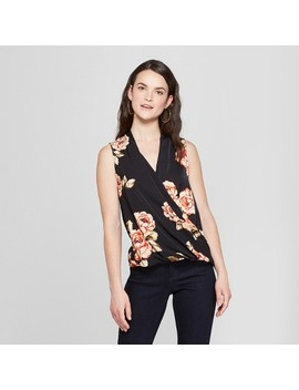 Women's Floral Print V Neck Tank   A New Day™ Black by A New Day™