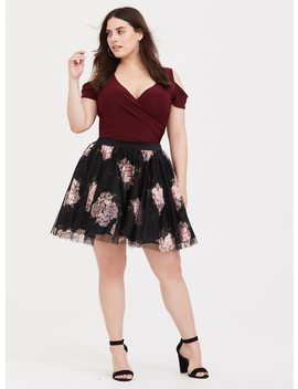 Black Floral Tulle Challis Mini Skirt by Torrid