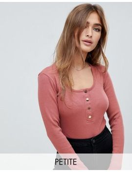 Missguided Petite Popper Detail Ribbed Body In Dusty Rose by Missguided Petite
