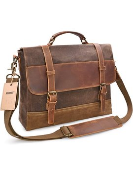 Newhey Mens Messenger Bag Waterproof Canvas Leather Computer Laptop Bag 15.6 Inch Briefcase Case Vintage Retro Waxed Canvas Genuine Leather Large Satchel Shoulder Bag College Brown by Newhey