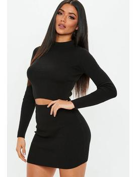 Black Knitted Ribbed Top & Skirt by Missguided