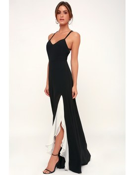 Make An Entrance Black And White Ruffled Maxi Dress by Lulus